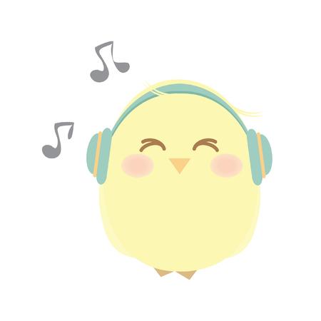 음악을 듣는 병아리