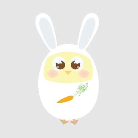 A chick wearing a rabbit costume Vector