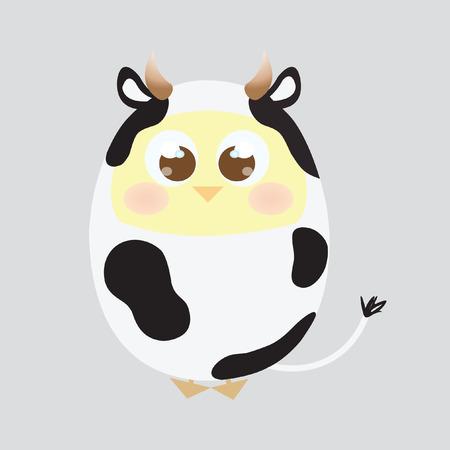 A chick wearing a cow costume Çizim