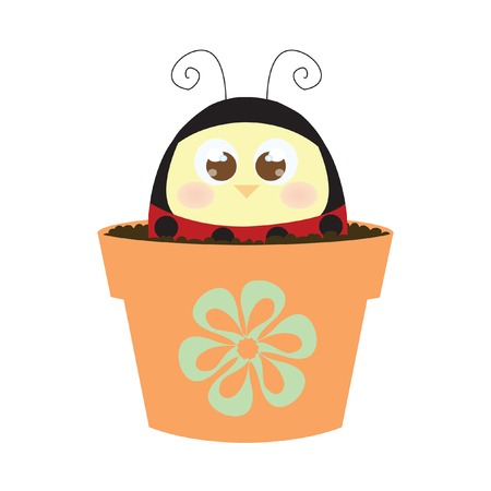 Chick wearing a ladybug costume in a pot of soil
