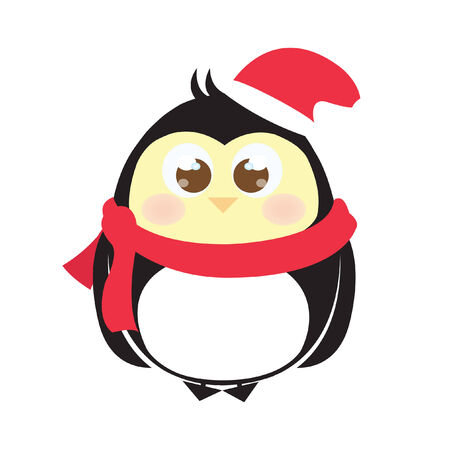santa       hat: Chick in bird costume wearing a santa hat and scarf Illustration