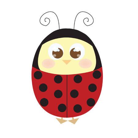 Chick wearing ladybird costume