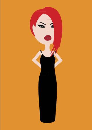 robe noire: Femme dans une robe noire