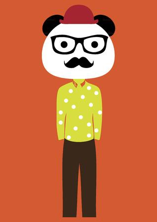 smart: Panda bear with a mustache