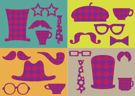 Checkered patterned items Vector