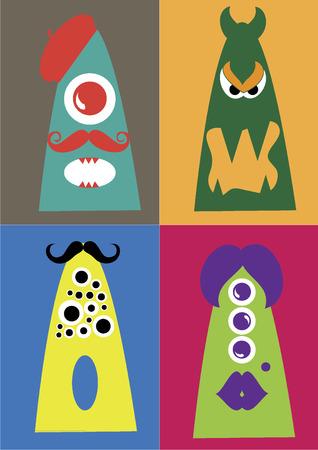 Weird monsters Vector