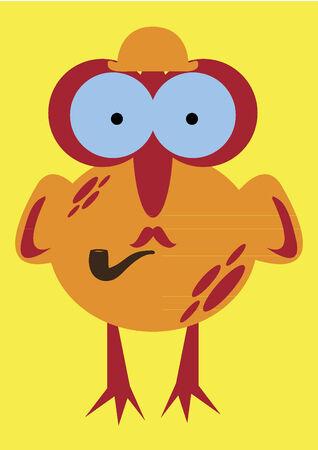 pipe smoking: Vogel mit einer Pfeife Illustration