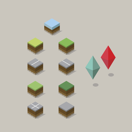 Isometric landscape and location pins