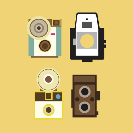 Collection of antique cameras Иллюстрация