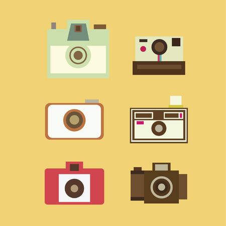 Collection of antique cameras Illustration