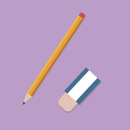 鉛筆と消しゴム  イラスト・ベクター素材