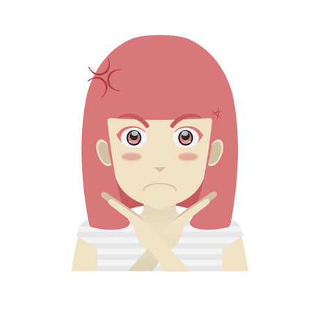 Portrait of a girl looking annoyed with hand gesture