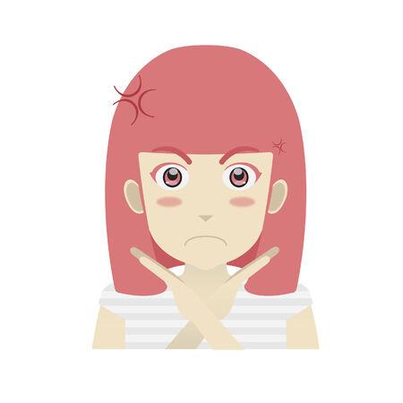Portret van een meisje op zoek geërgerd met handgebaar Stock Illustratie