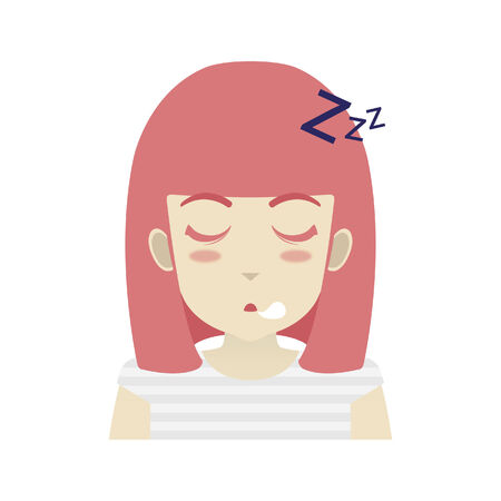 dozing: Portrait of a girl dozing off Illustration