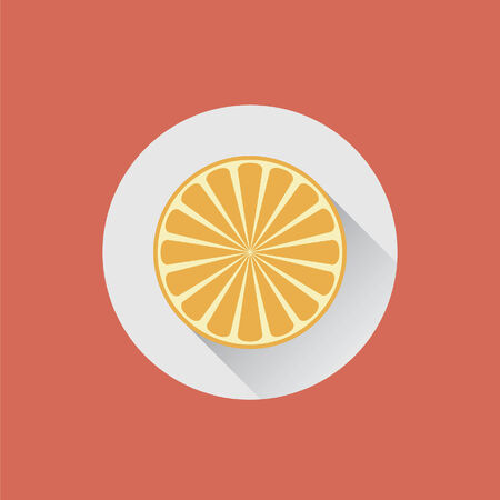 皿の上の半分のオレンジ  イラスト・ベクター素材