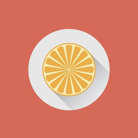 zest: Halved orange on a plate Illustration