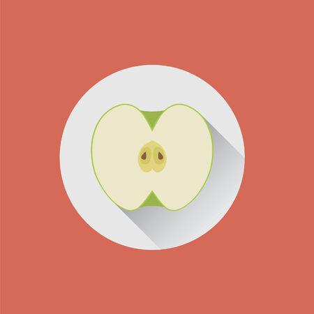 皿の上半分の青リンゴ  イラスト・ベクター素材