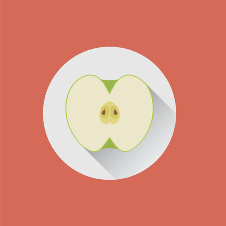 Halved green apple on a plate Ilustrace