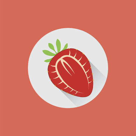 halved: Halved strawberry on a plate