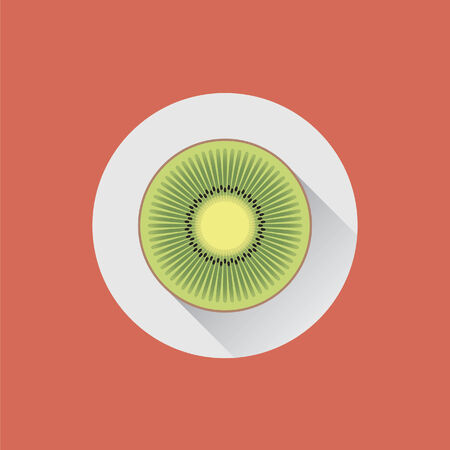 halved: Halved kiwi fruit on a plate Illustration