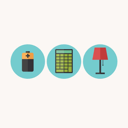 Illustration of battery, calculator and table lamp
