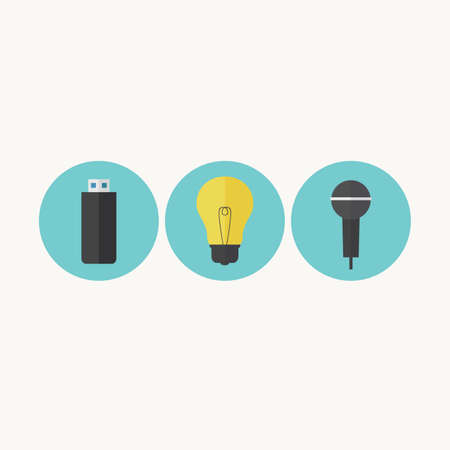 Illustration of USB drive, light bulb and microphone