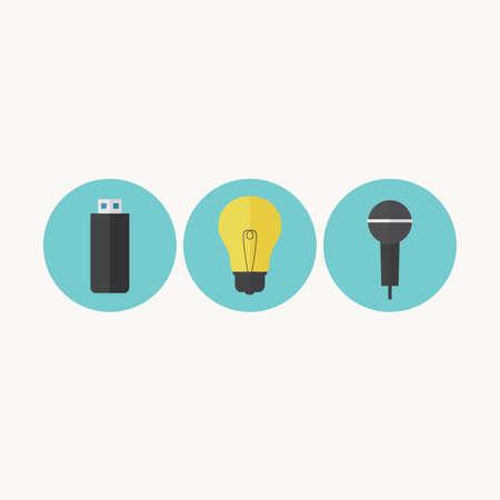 Illustration of USB drive, light bulb and microphone Stok Fotoğraf - 31232136