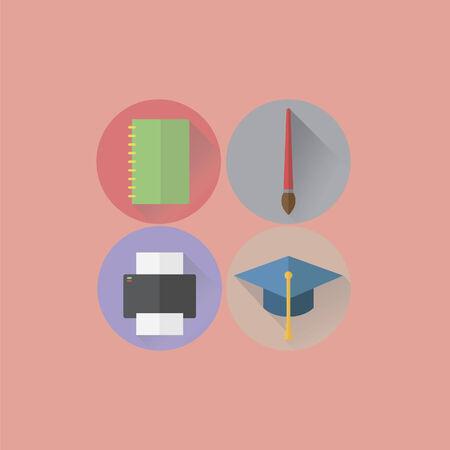 ノートブック、絵筆、プリンターとモルタル板のアイコン