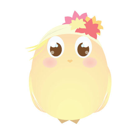 headscarf: A chick wearing a floral headscarf Illustration