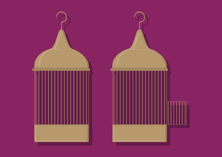 Vector of bird cages Çizim