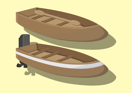 Vector of row boat and motor boat