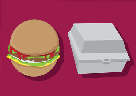 Vector of burger and container