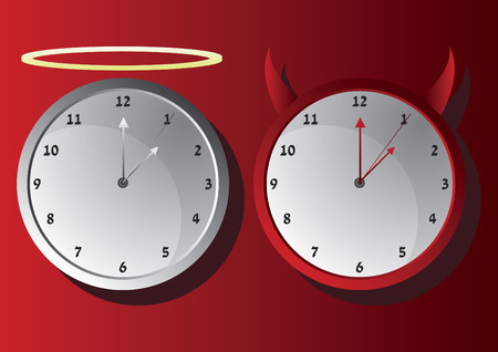 Vector of good and evil wall clock