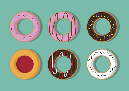 Vector of doughnuts