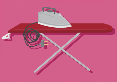 Vector of electric iron and ironing board