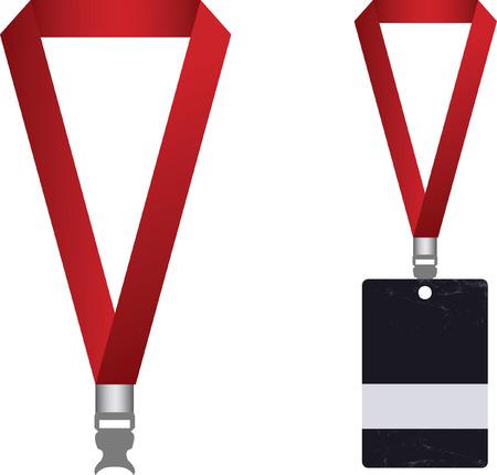 Vector of access card and lanyard Vector