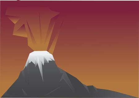 Vector of an erupting volcano