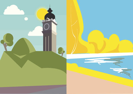 Vector of city and seaside Illustration