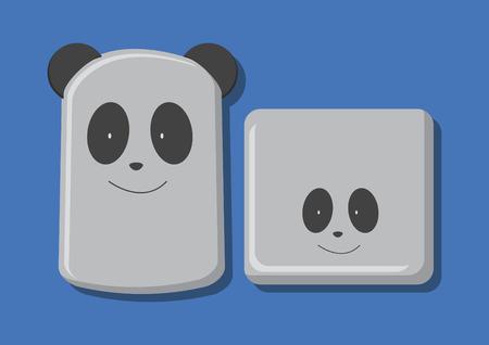 パンダ食品容器のベクトル