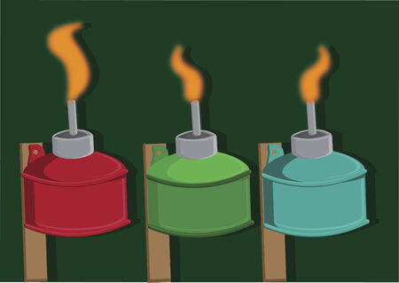 Vector of colorful oil lamps Illustration