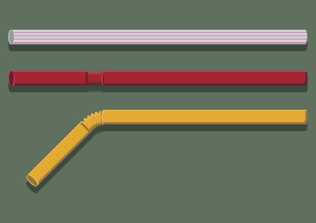 Vector of drinking straws Çizim