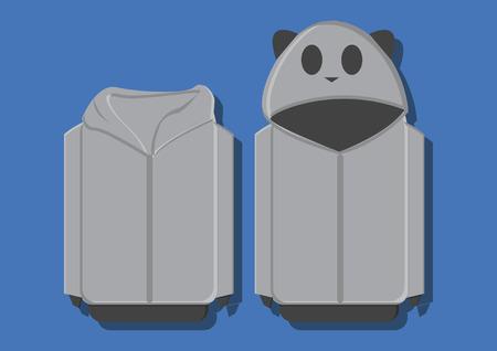 zip hoodie: Vector of a panda sweater