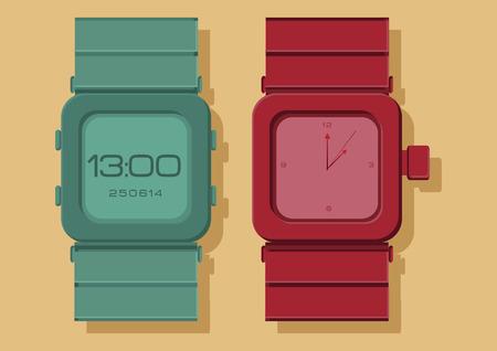cut wrist: Vector of wrist watch