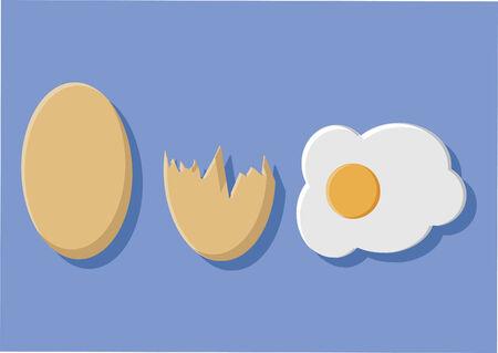 계란과 달걀 껍질의 벡터