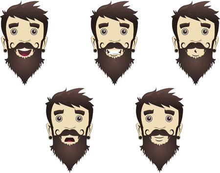 Illustration of facial expressions of a man