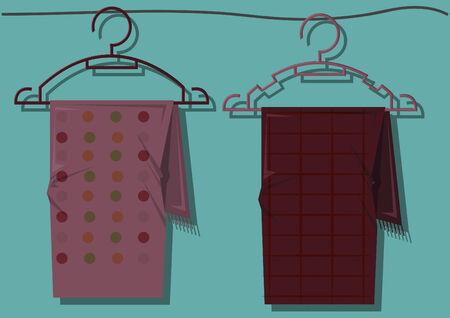 hangers: Vector of scarves on hangers Illustration
