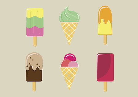 Vector of various ice creams