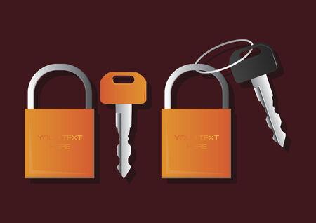Vector of padlocks and keys