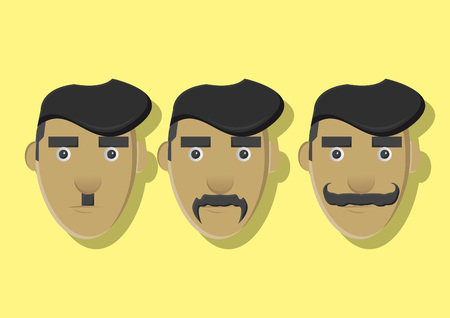 unshaven: Vector of a man with different mustache Illustration