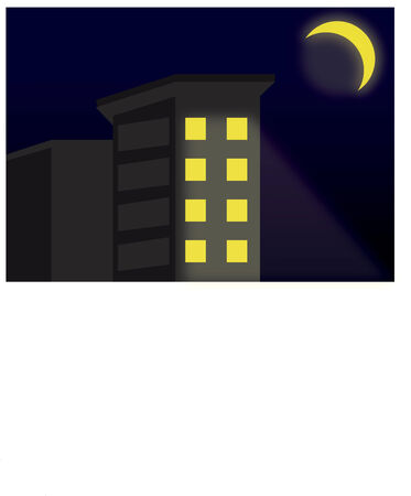Vector of building at night